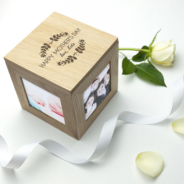 Happy Mother's Day Personalised Oak Photo Cube