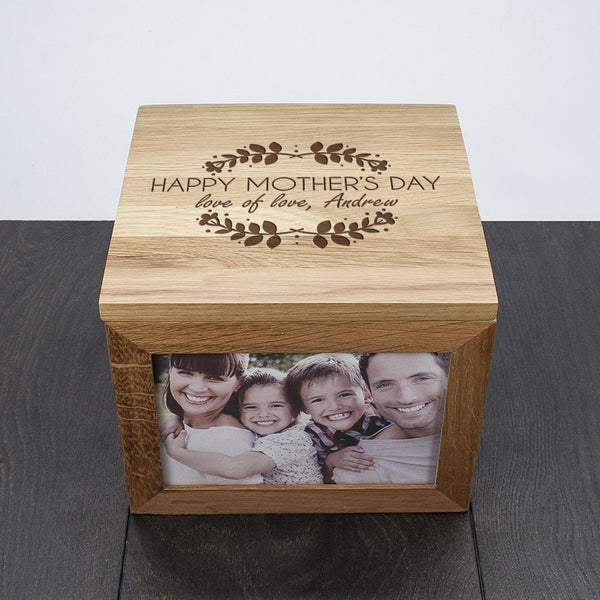 Happy Mother's Day Large Oak Personalised Photo Cube