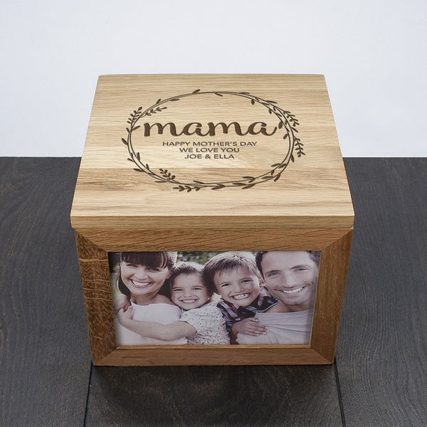 Mother's Day Oak Personalised Photo Cube - Wreath Design