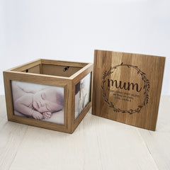 Mother's Day Large Oak Personalised Photo Cube - Wreath Design