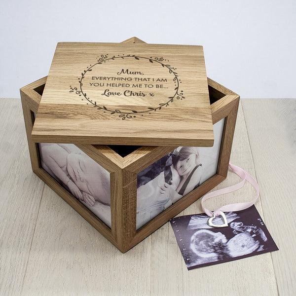 'Thank You Mum' Large Oak Personalised Photo Cube