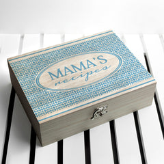 Recipe Personalised Box - Pink, Blue or Red Retro Geometric Design - Luxe Gift Store