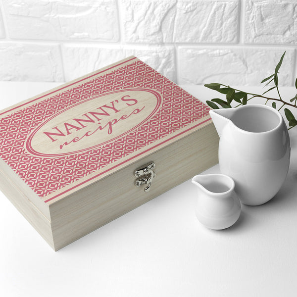 Recipe Personalised Box - Pink, Blue or Red Retro Geometric Design