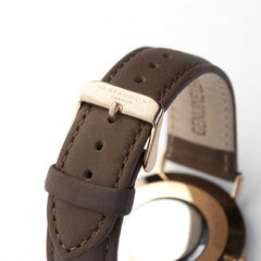 Men's Modern-Vintage Personalised Rose Gold Leather Watch In Brown - Luxe Gift Store
