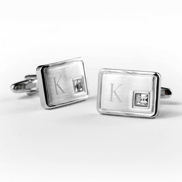 Brushed Silver Personalised Cufflinks With Crystal