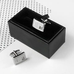 Brushed Silver Personalised Cufflinks With Crystal - Luxe Gift Store