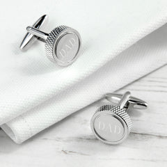 Round Rhodium Plated Personalised Cufflinks - Luxe Gift Store