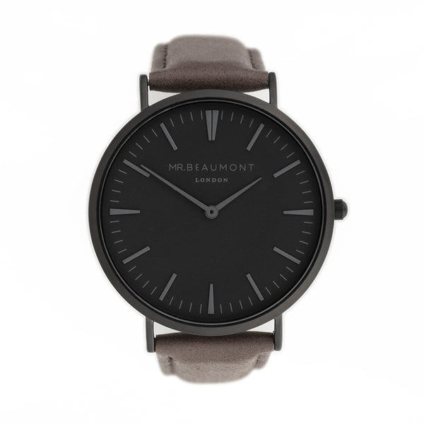 Men's Modern-Vintage Personalised Watch in Ash Leather - Black Dial