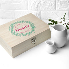 Leaf Wreath Mother's Day Personalised Tea Box