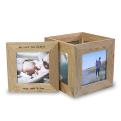 Dad's Oak Personalised Photo Cube Keepsake Box - Luxe Gift Store