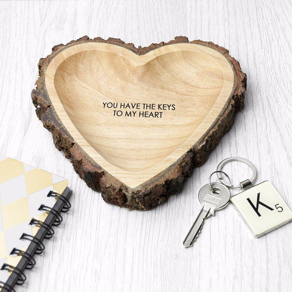 Rustic Personalised Carved Wooden Heart Dish