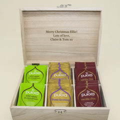Time For Tea! Personalised Wooden Tea Box - Blue, Green, Yellow or Red - Luxe Gift Store - 6