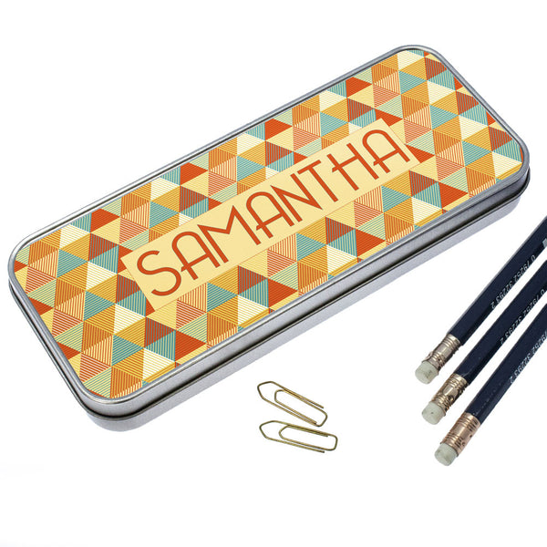 Kid's Multicoloured Pyramids Personalised Pencil Case