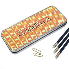 Orange Chevron Pattern Personalised Pencil Case - Luxe Gift Store