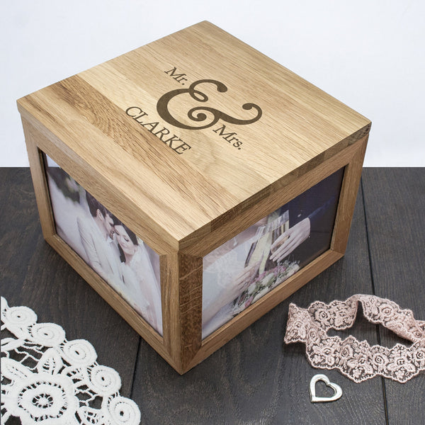 Classic Mr & Mrs Oak Personalised Photo Keepsake Box