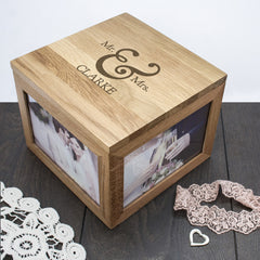 Classic Mr & Mrs Oak Personalised Photo Keepsake Box - Luxe Gift Store