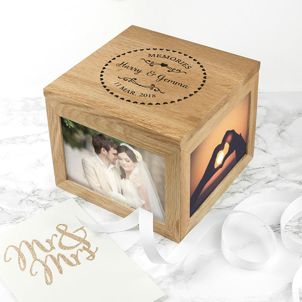 Couple's Oak Personalised Photo Keepsake Box with Heart Frame