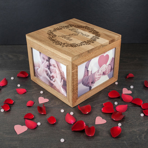 Couple's Personalised Oak Photo Keepsake Box with Floral Frame