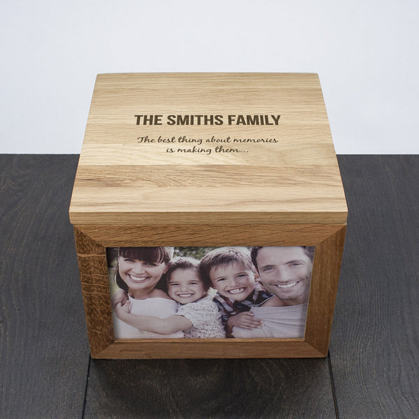 'We Are Family' Oak Photo Personalised Keepsake Box