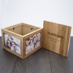 'We Are Family' Oak Photo Personalised Keepsake Box - Luxe Gift Store