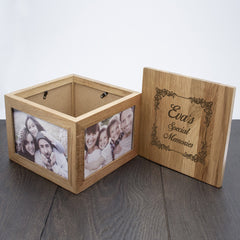 Vintage Personalised Style Oak Photo Keepsake Box - Luxe Gift Store