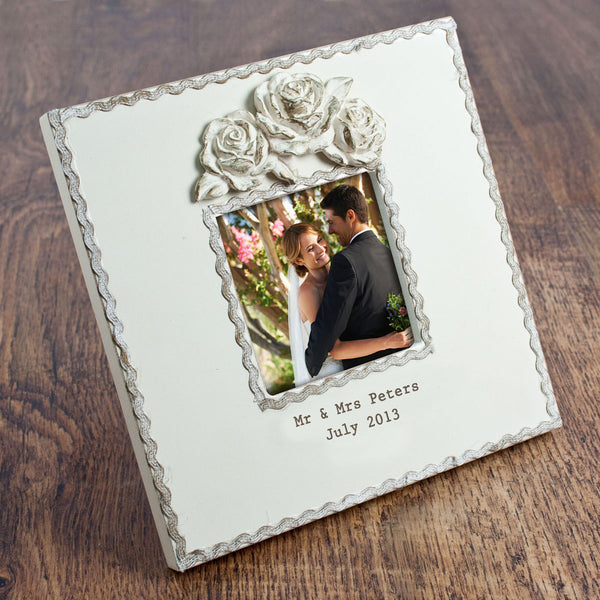 Rustic Personalised Roses Photo Frame - Medium