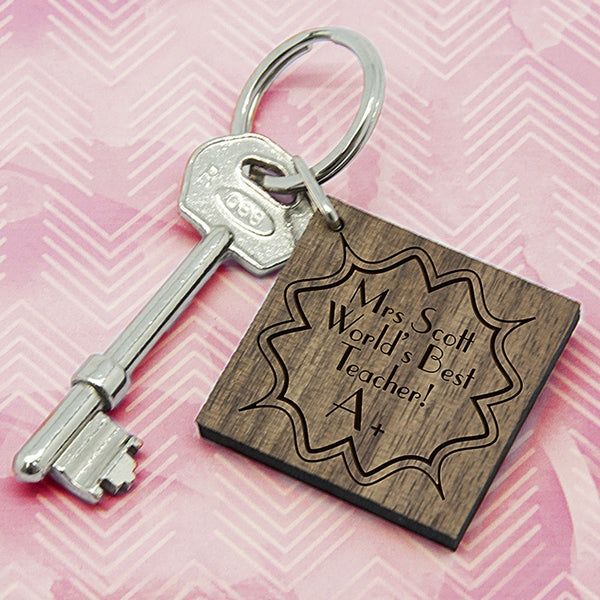 Teacher's Personalised 'A+ Teacher' Square Keyring