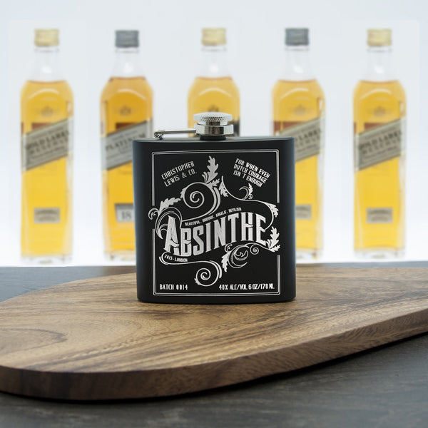 Absinthe Vintage Personalised Hip Flask