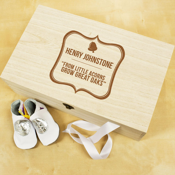 Baby's Personalised Acorn Sentiment Keepsake Box - Unisex