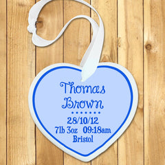 Baby Boy's Personalised Blue Birth Date Heart Keepsake - Luxe Gift Store