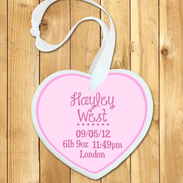 Baby Girl's Personalised Pink Birth Date Heart Keepsake