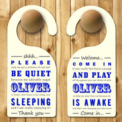 Baby Boy's Personalised Blue Door Hanger - Luxe Gift Store