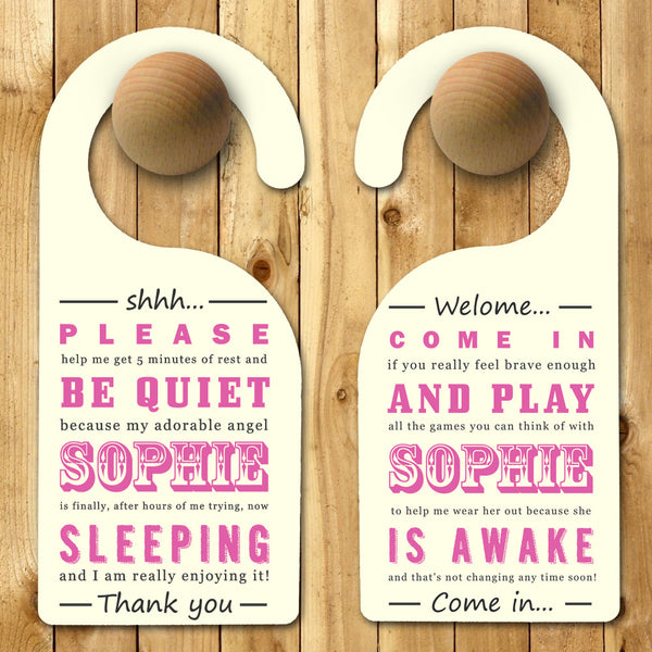Baby Girl's Personalised Pink Door Hanger
