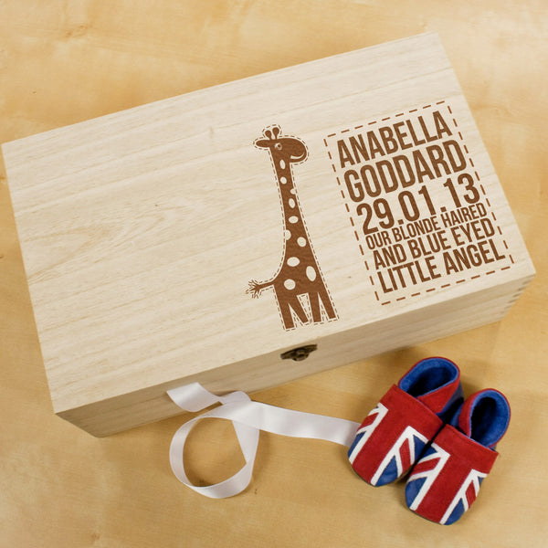 Baby's Personalised Giraffe Keepsake Box - Unisex