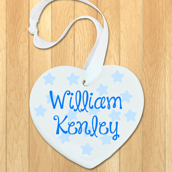 Baby Boy's Personalised Blue Name Heart Keepsake