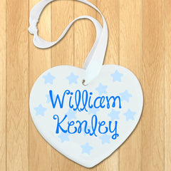 Baby Boy's Personalised Blue Name Heart Keepsake - Luxe Gift Store