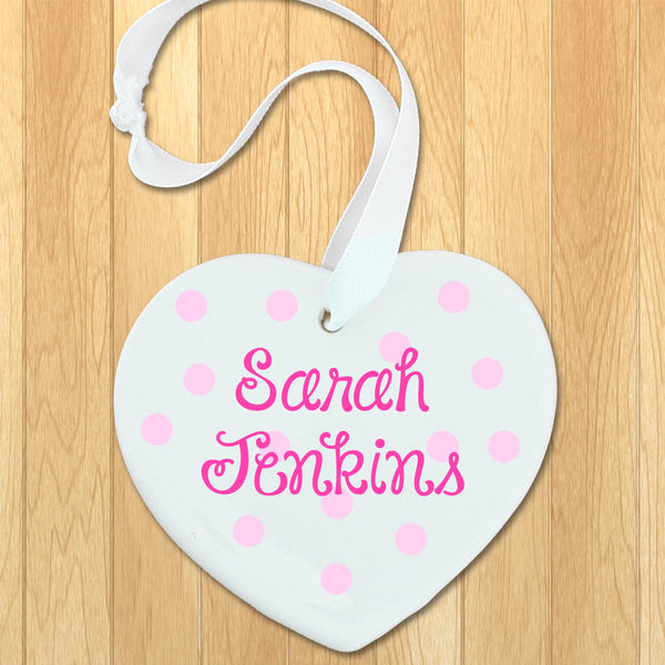 Baby Girl's Personalised Pink Name Heart Keepsake