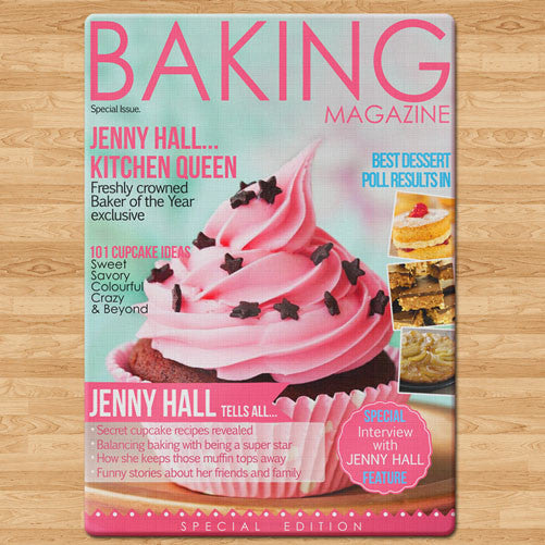 Baking Magazine Personalised Glass Chopping Board