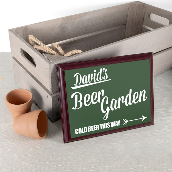 Men's 'Beer This Way' Personalised  Garden Plaque