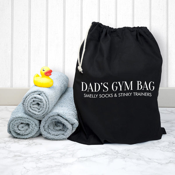 Men's Personalised Cotton Black Gym Bag
