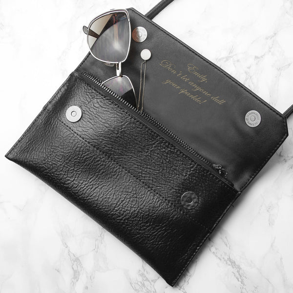 Black Leather Personalised Handbag & Clutch