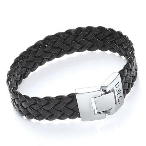 Soft Leather Personalised Bracelet - Black Shown
