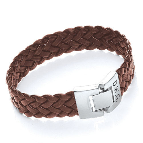 Soft Leather Personalised Bracelet - Brown Shown