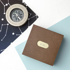 Brass Travellers Personalised Compass with Wooden Box - Luxe Gift Store