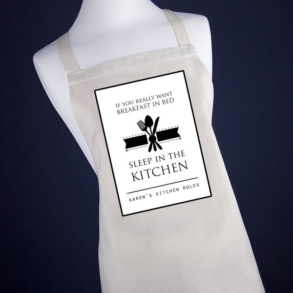 'Breakfast in Bed' Personalised Apron