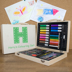 Kid's Personalised Colouring In Set- Blue or Gree -  - 1
