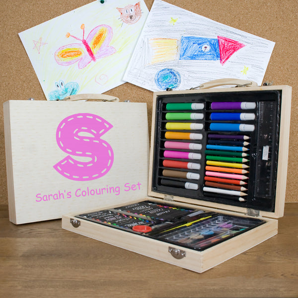 Kid's Personalised Colouring In Set - Pink