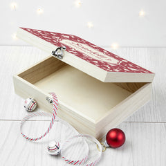 Christmas Personalised Festive Wooden Box - Red, Blue or Green - Luxe Gift Store