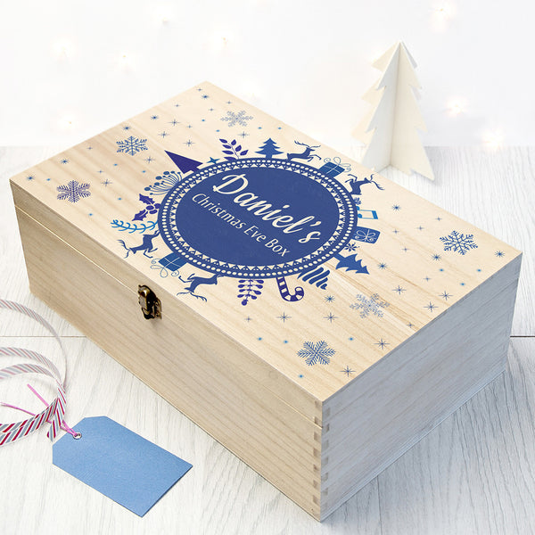 Christmas Snowflake Personalised Wooden Box - Blue Shown