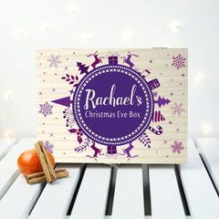 Christmas Personalised Wooden Box Snowflake Design - Purple - Luxe Gift Store